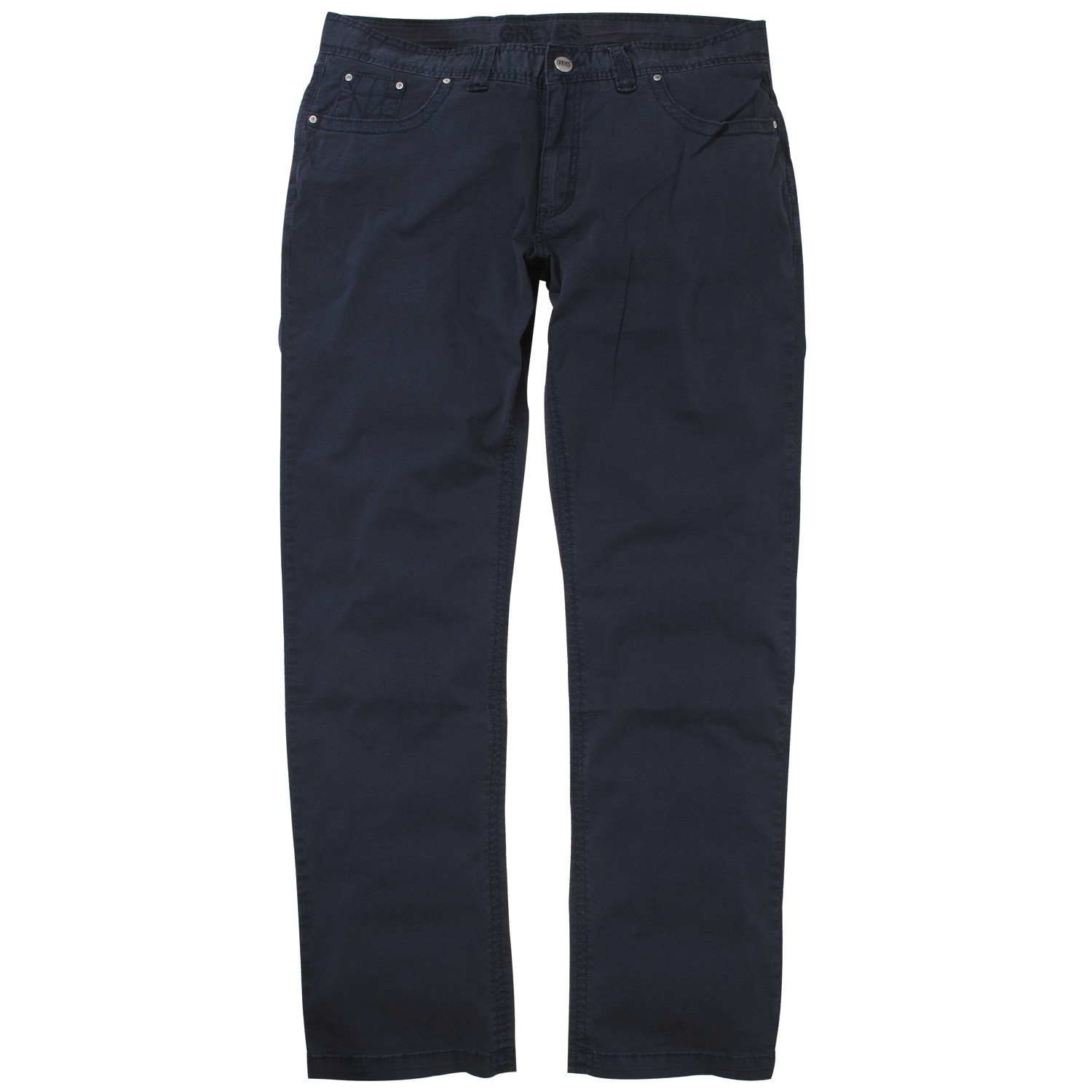 Detail Image to Dark blue five-pocket-pants by Greyes in extra large sizes up to 64