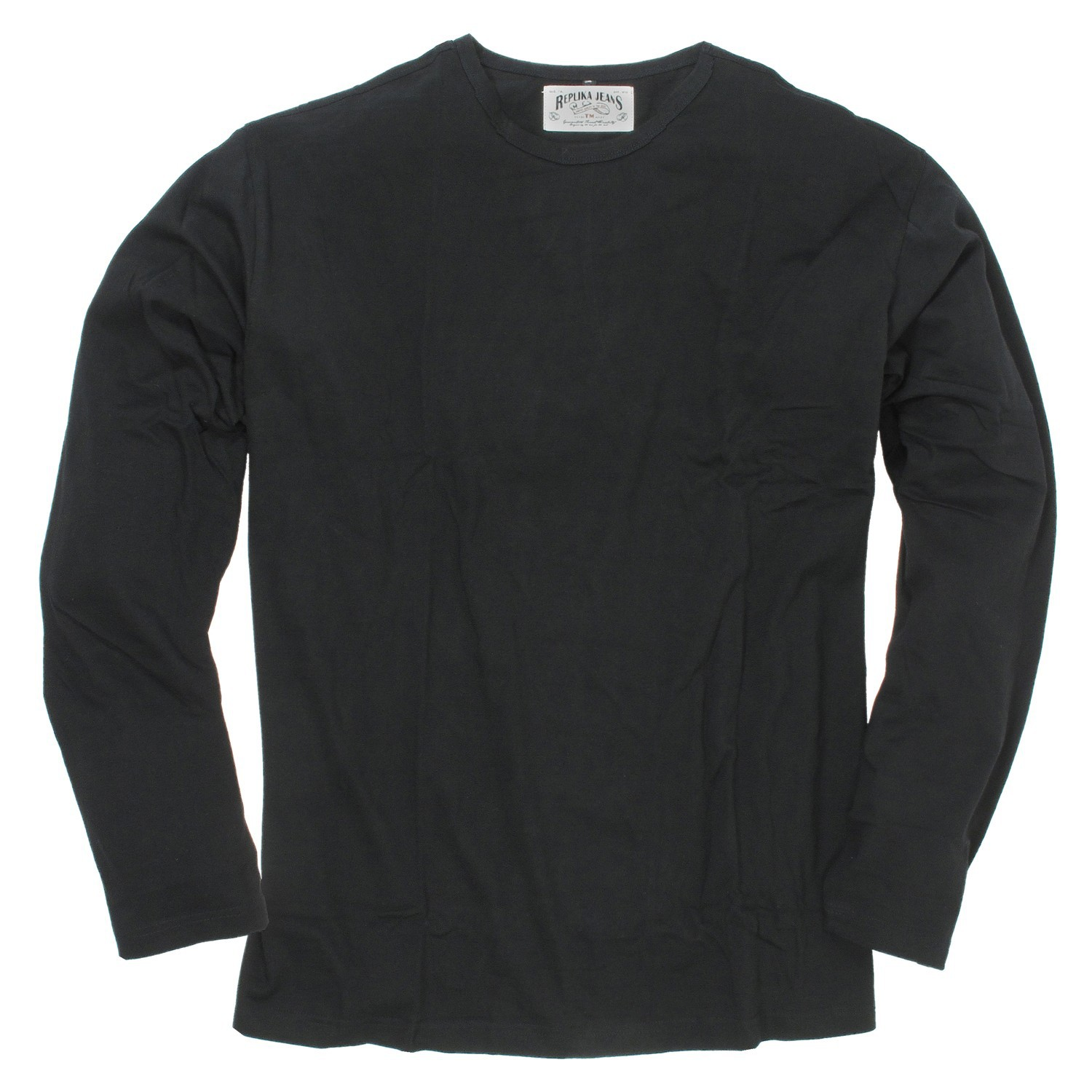 Detail Image to Black longsleeve for men by Replika up to oversize 8XL