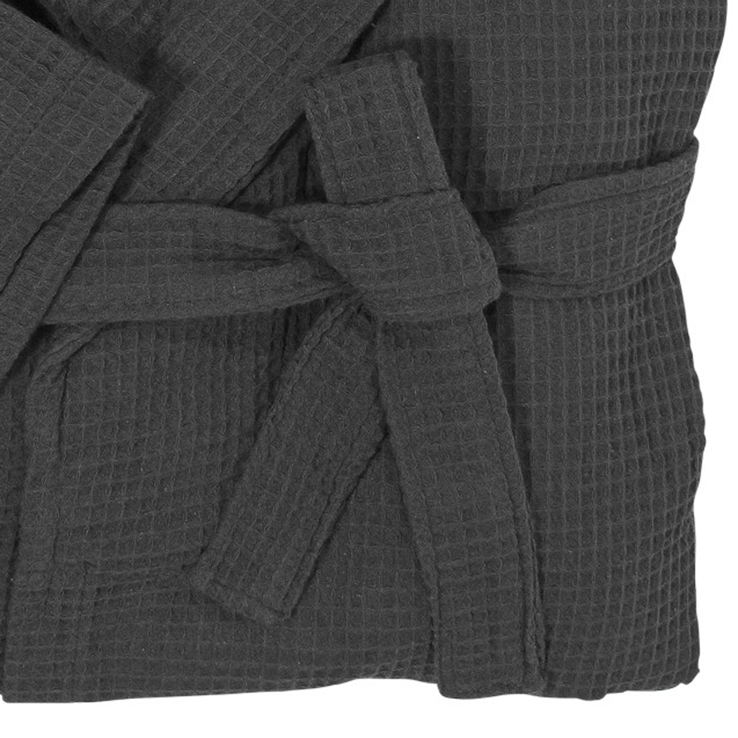 Detail Image to Black dressing gown made of waffle pique by Abraxas in large Sizes up to10XL