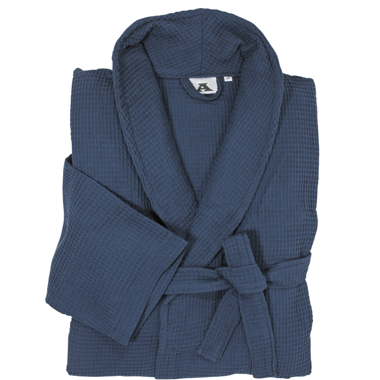 Detail Image to Dressing gown in blue made of waffle pique by Abraxas in large sizes up to 10XL