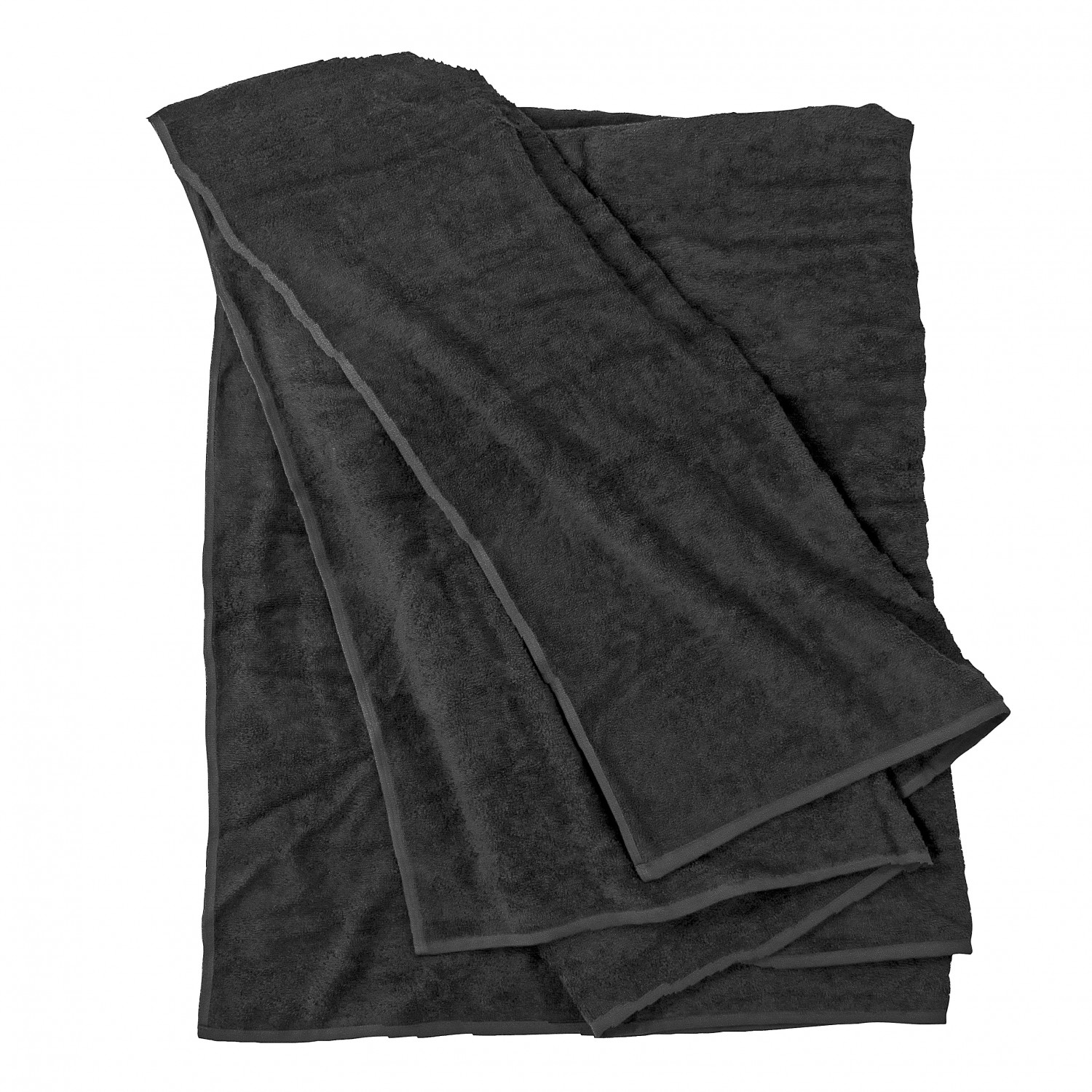 Detail Image to Bath towel in black by Kapart in large sizes 100x220 cm and 155x220 cm
