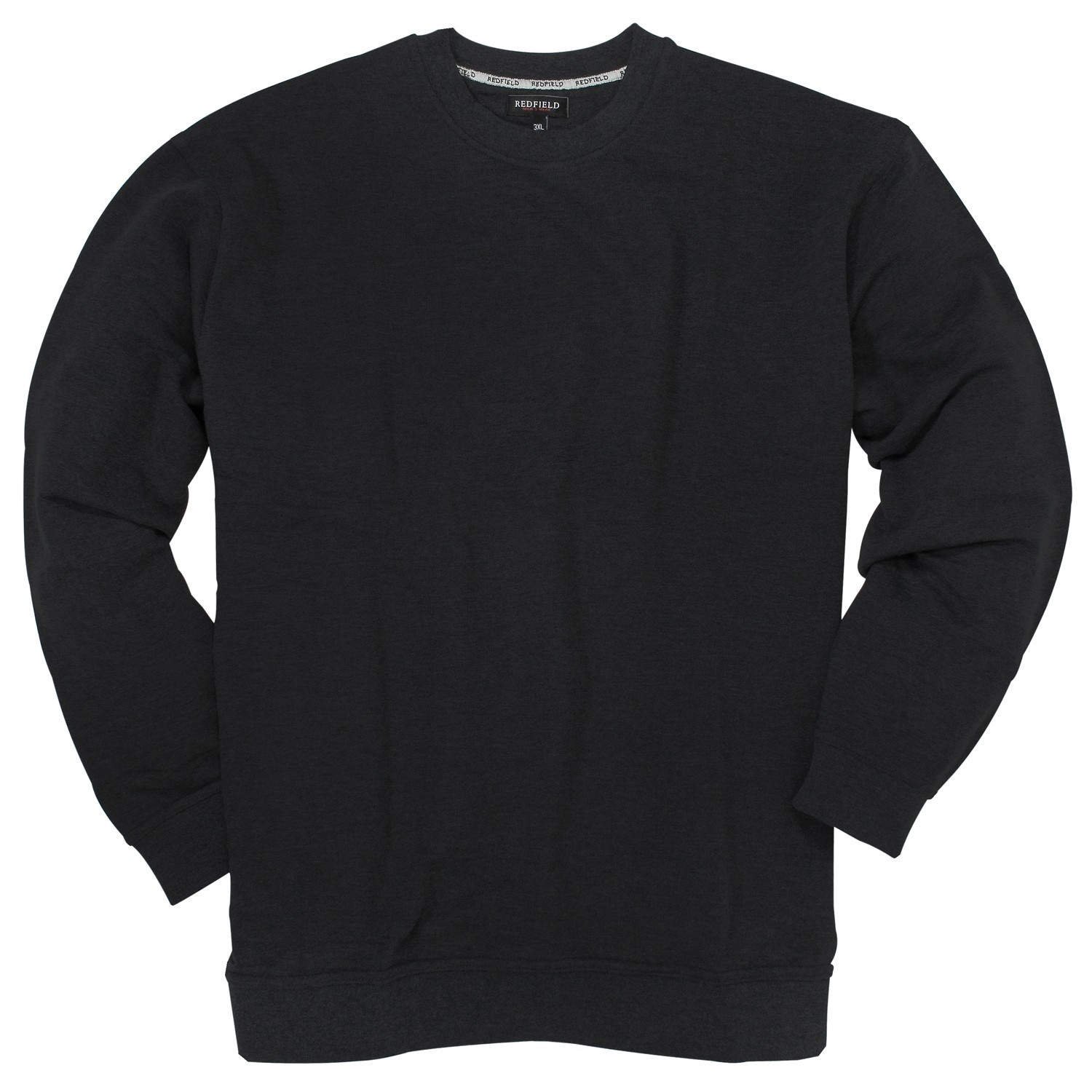 Detail Image to Black crew neck sweatshirt by Redfield in plus sizes up to 10XL