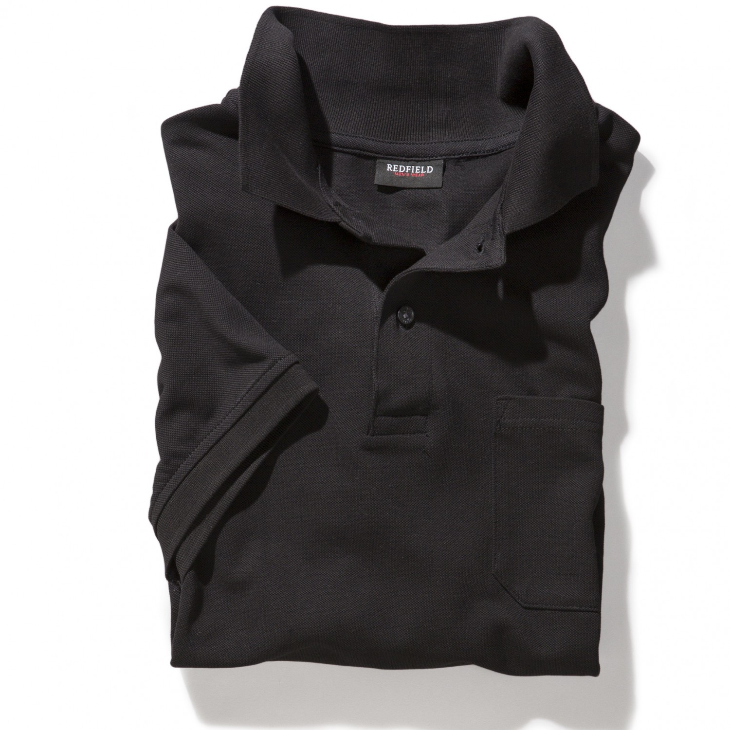 Detail Image to Black polo shirt by Redfield in oversizes up to 8XL