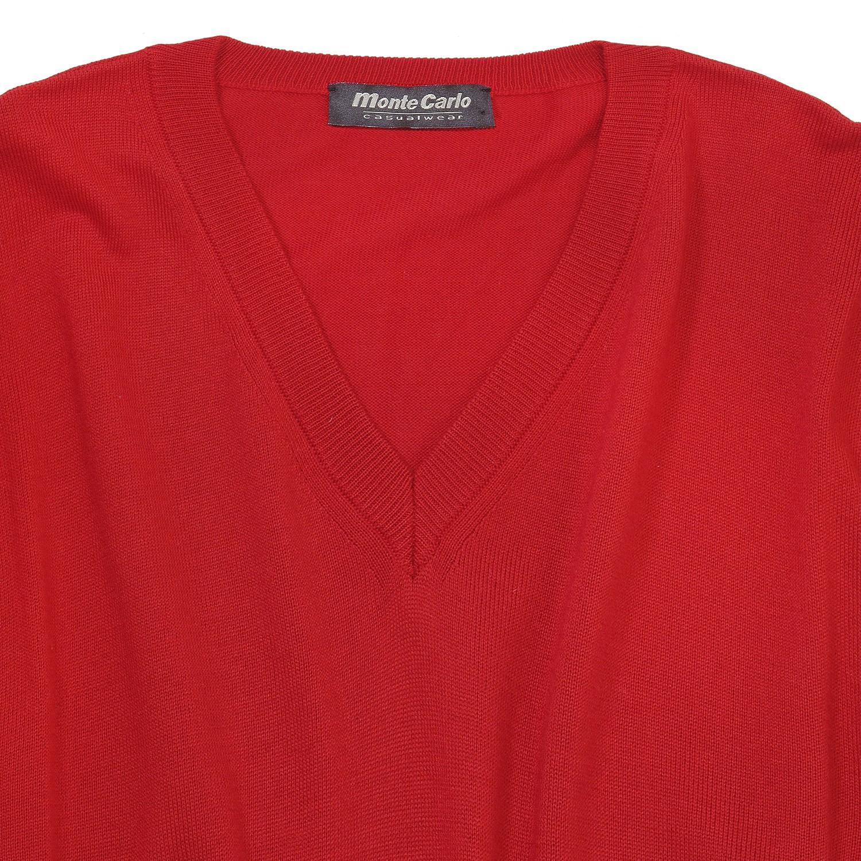 Detailbild zu Roter V-Neck Strickpullunder in Übergrößen bis 8XL