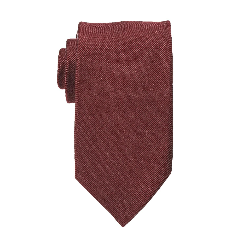 Image de détail de Cravate bordeaux en soie grande taille de Ploenes