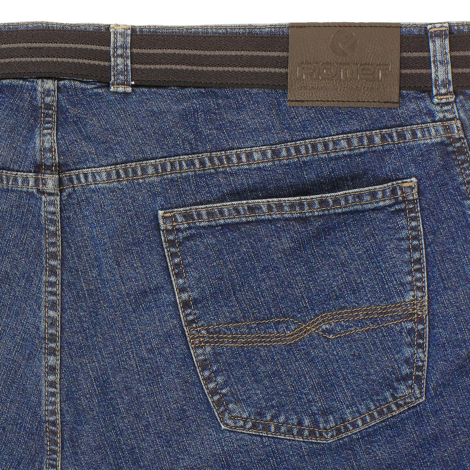 Detail Image to Stone-washed five-pocket-jeans by Pionier in extra large sizes up to 40, 70 and 85