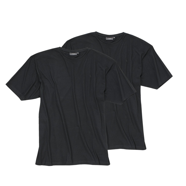 Detailbild zu Schwarze 2er Pack Rundhals T-Shirts in XXL Größen
