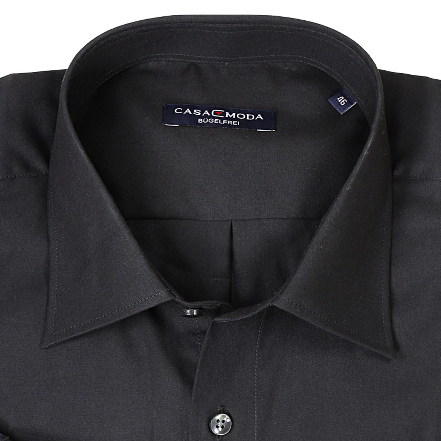 Detail Image to Black shirt by Casamoda in plus size up to 7XL