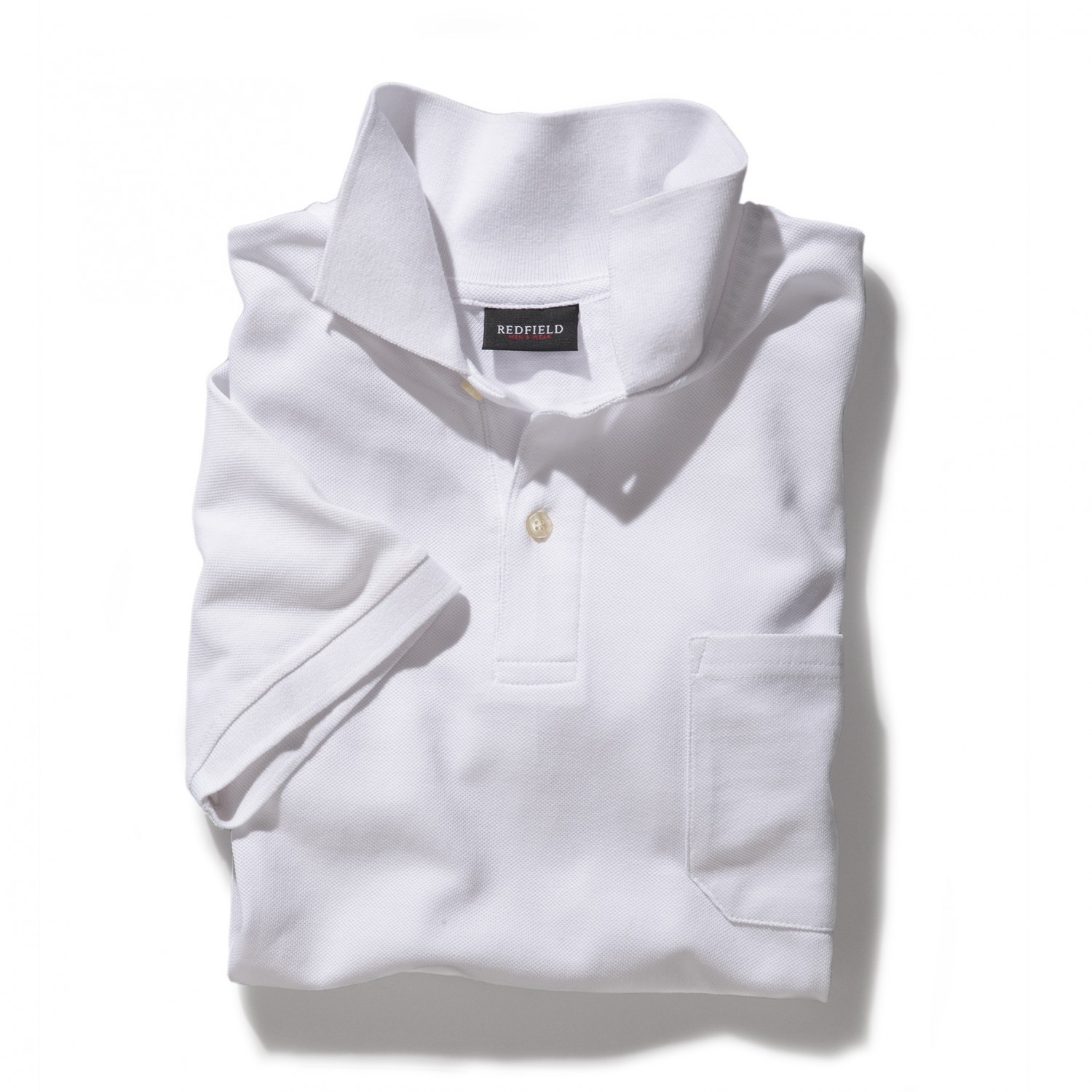 Detail Image to White polo shirt by Redfield in plus sizes until 8XL