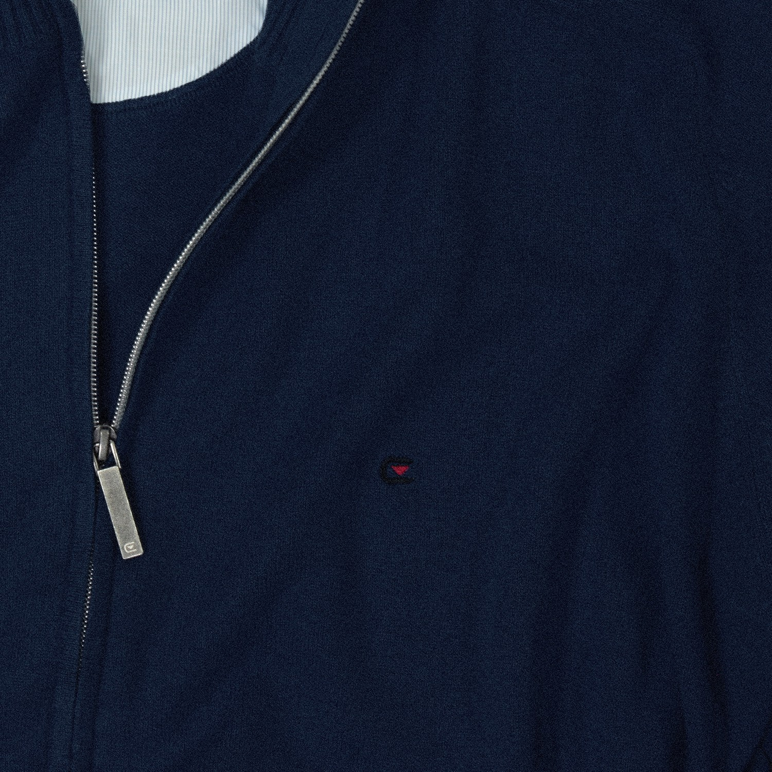 Detail Image to Blue uni cardigan by Casamoda in oversizes up to 6XL