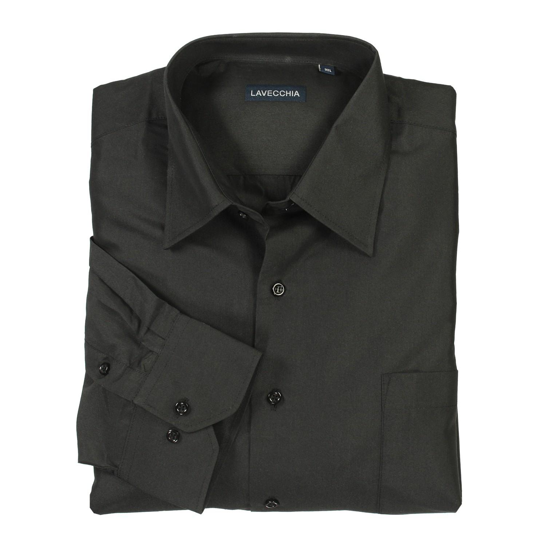 Detailbild zu Schwarzes Hemd (langarm) von Lavecchia in großen Größen bis 7XL
