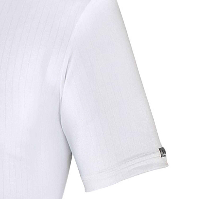 Image de détail de Shirt blanc col V côte tricotée grandes tailles jusqu'à 16