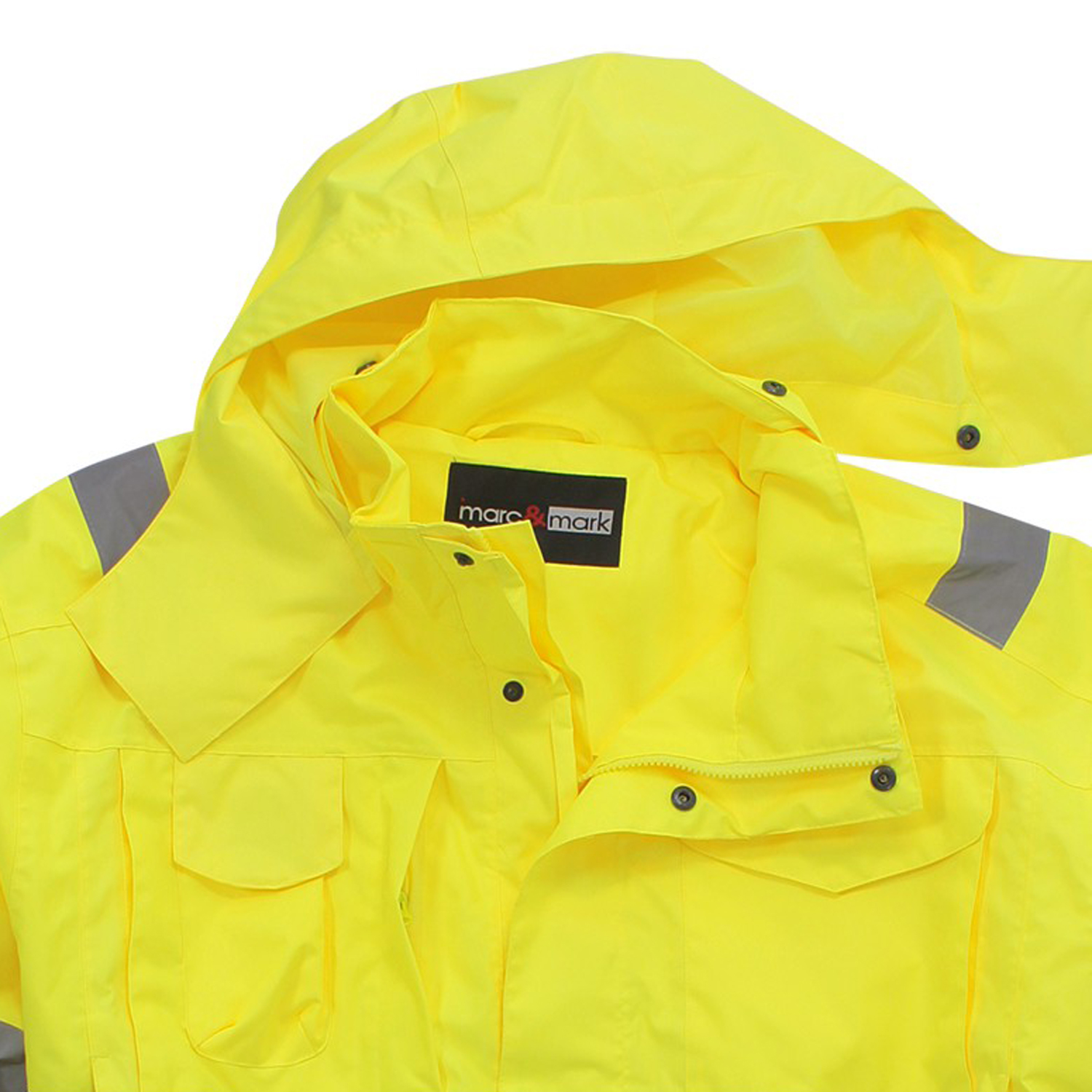 Detail Image to Waterproof warning jacket in yellow by marc&mark in oversizes up to 10XL