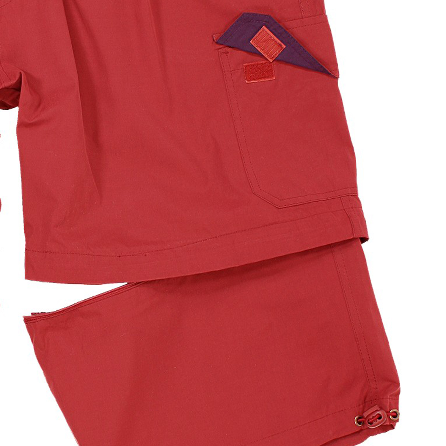 Detail Image to Zip-off-cargo-bermuda in red by Abraxas in large sizes up to 10XL