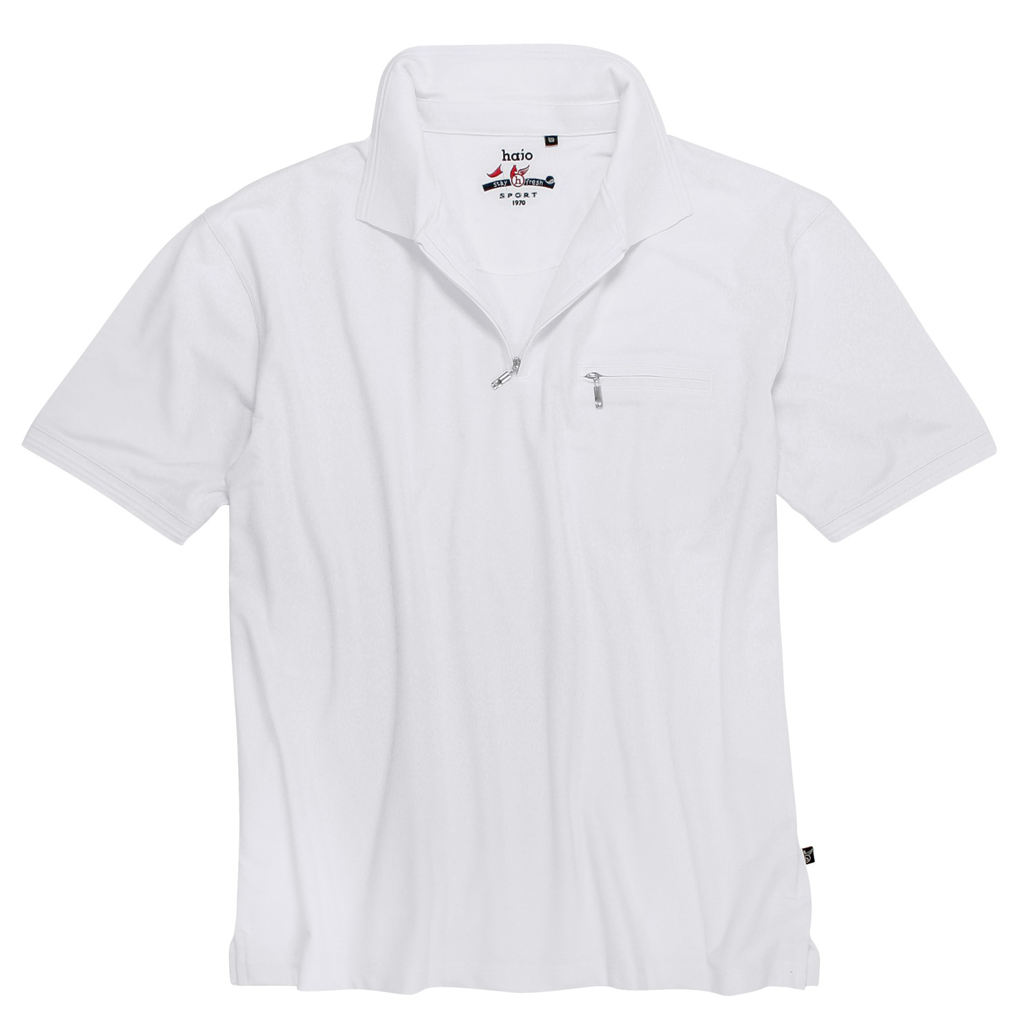 """Detail Image to Polo shirt """"Stay Fresh"""" in white by hajo in oversizes up to 6XL"""