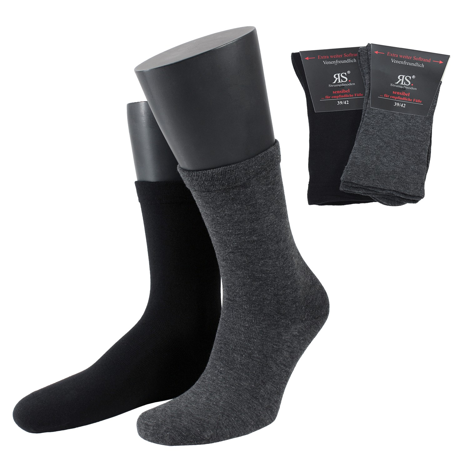 Detail Image to Double pack socks with extra wide border by Riese in grey/black up to oversize 50