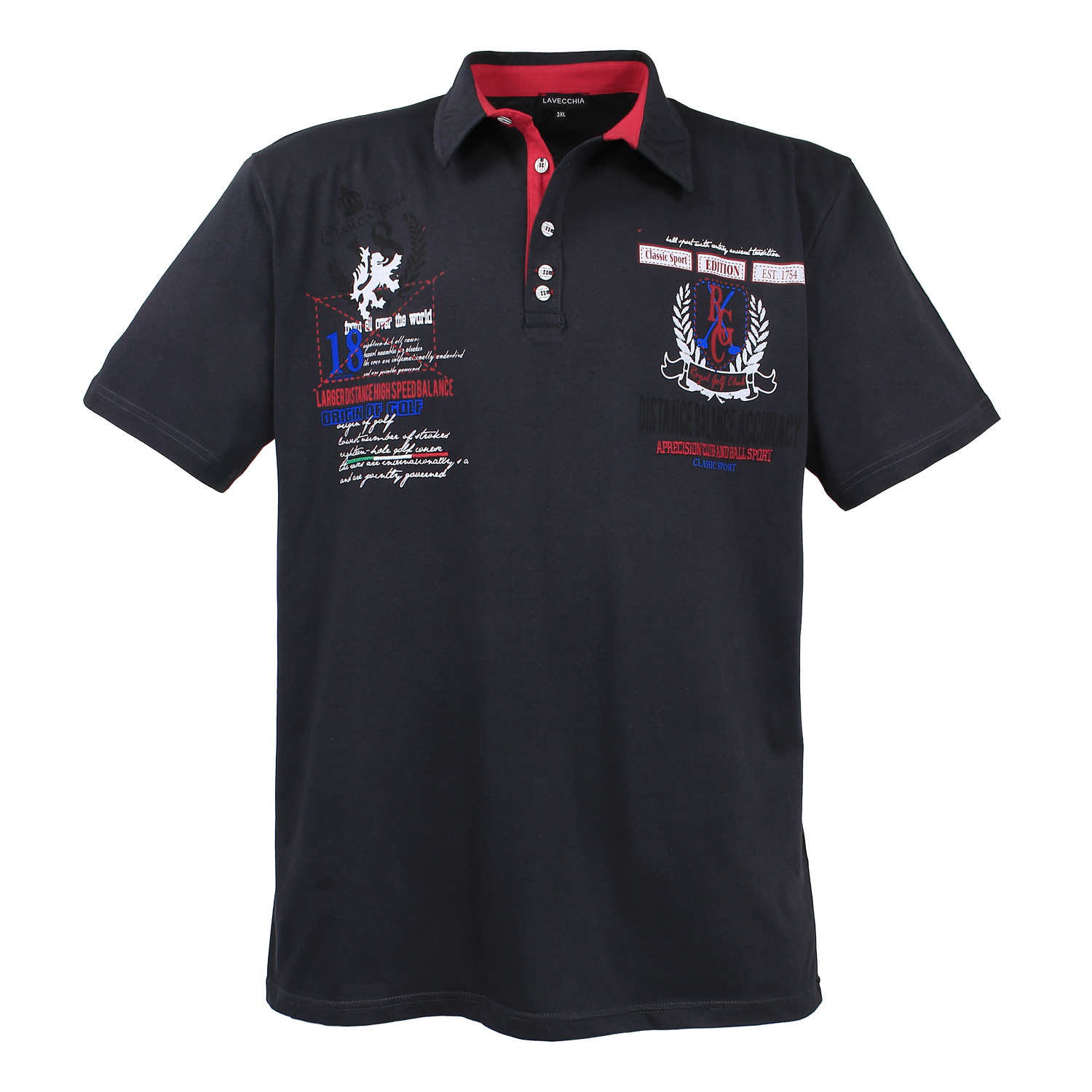 Detail Image to Polo shirt in black by Lavecchia in extra large sizes until 8XL