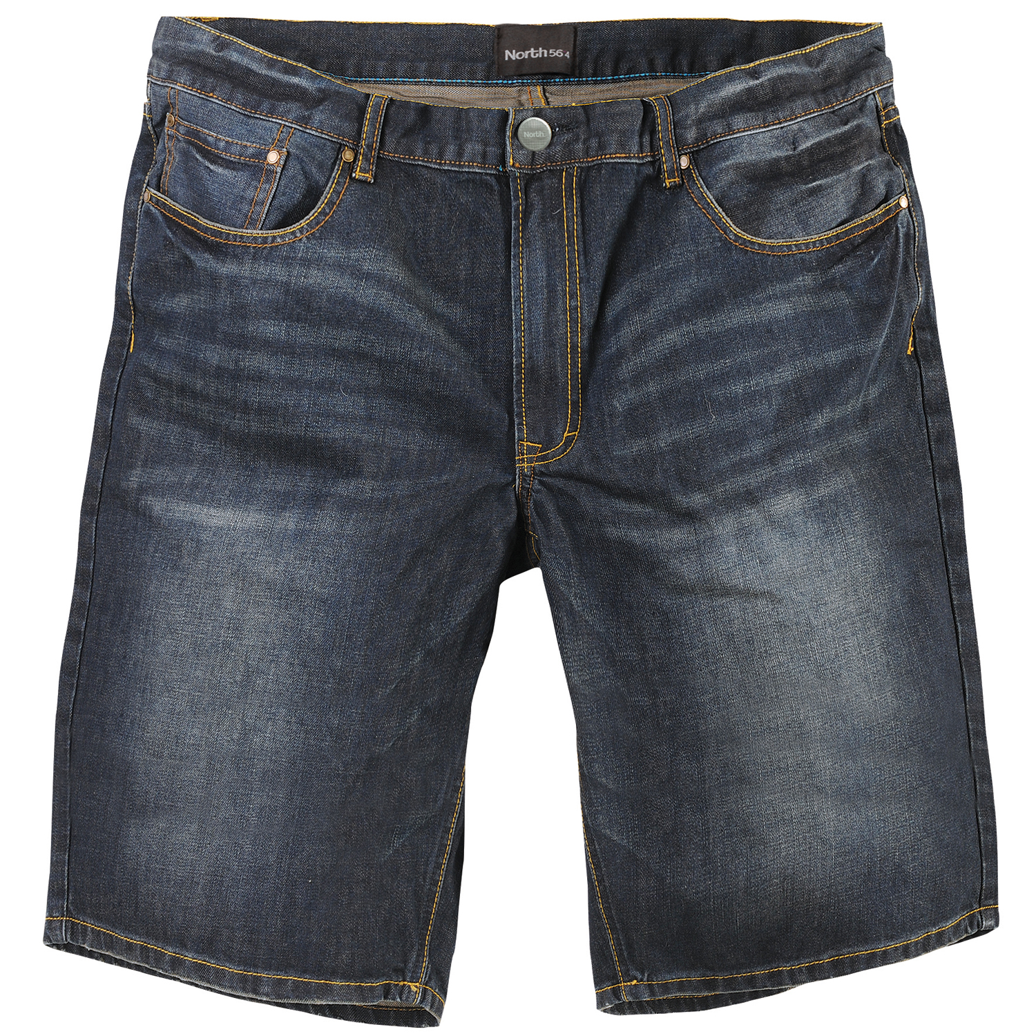 Detail Image to Blue denim long shorts for men by North 56°4 in oversizes up to W70
