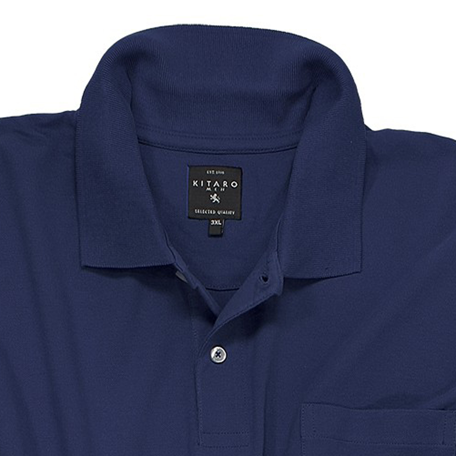 Detail Image to Poloshirt in navy by Kitaro in oversize 5XL