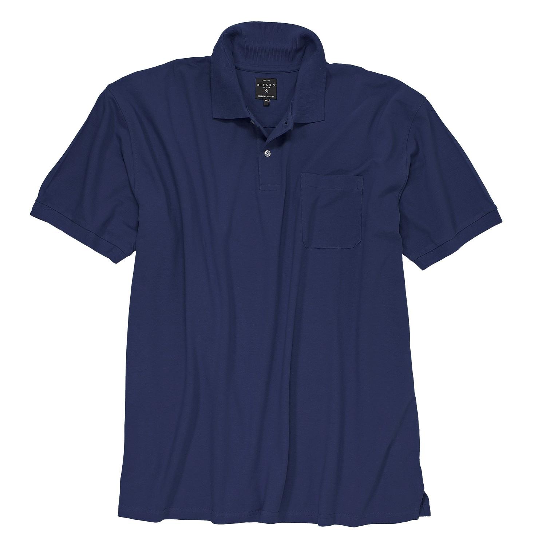 Image de détail de Polo-shirt bleu marine de Kitaro en grandes tailles 5XL