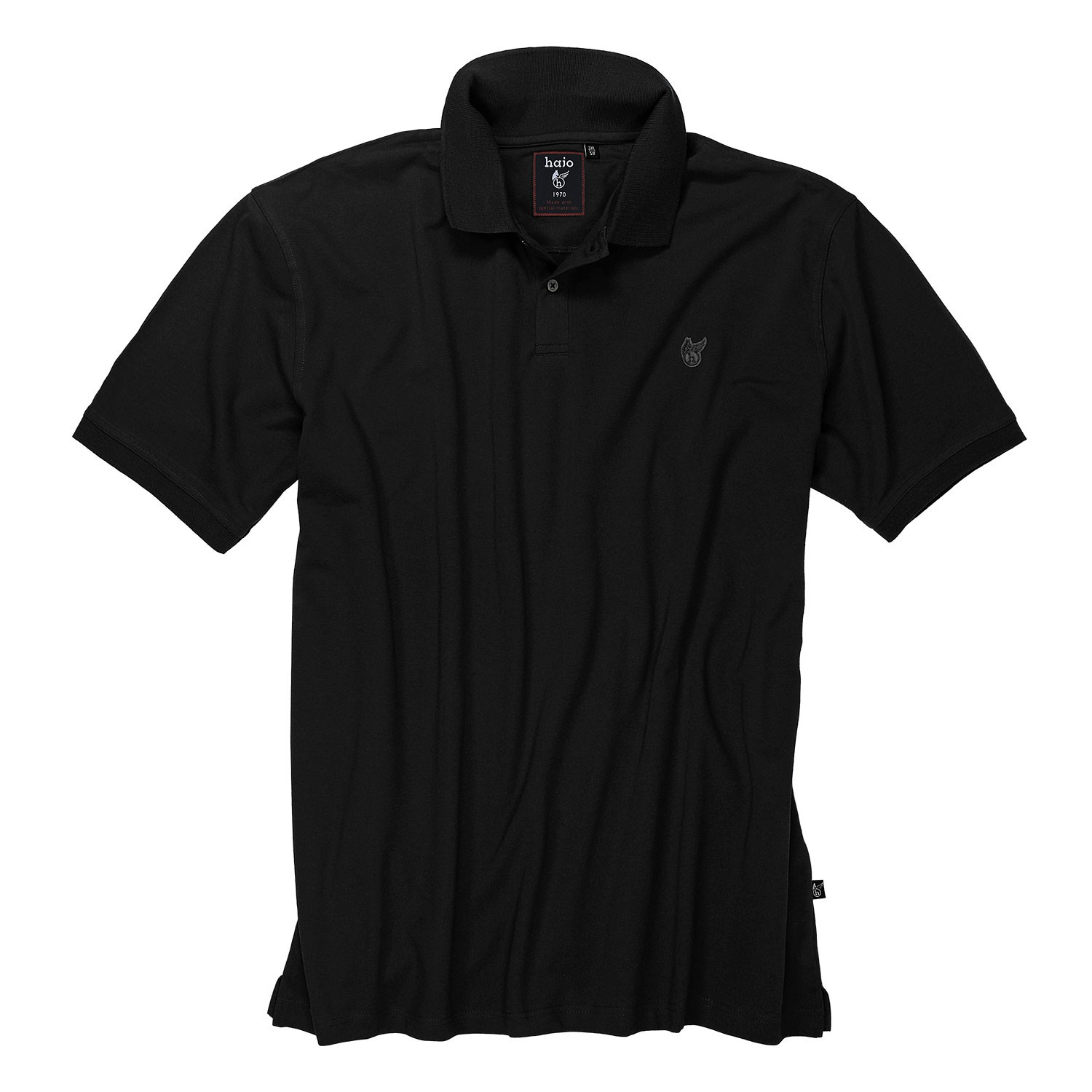 "Detail Image to Polo shirt ""stay fresh"" in black by hajo up to oversize 7XL"