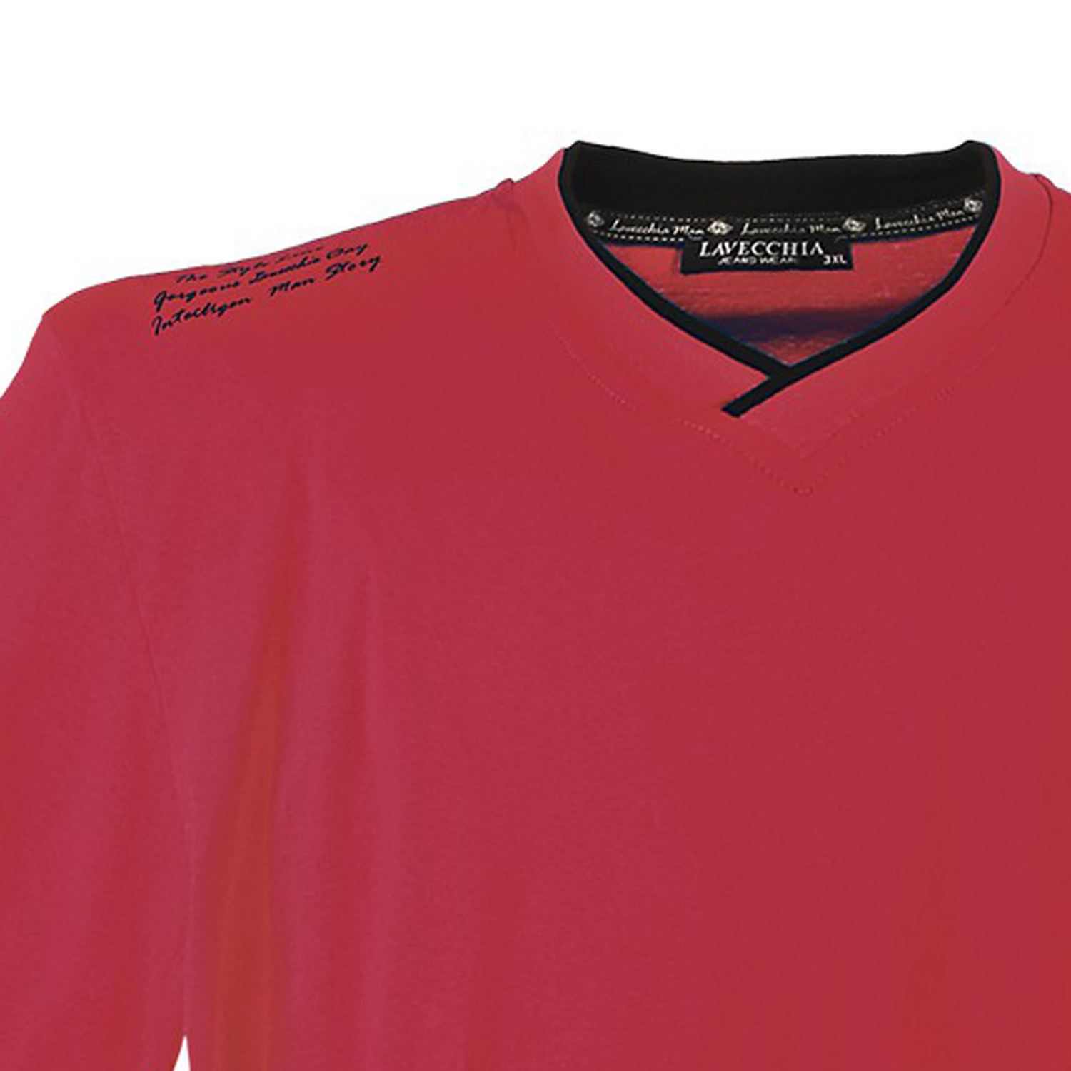 Detail Image to Red t-shirt by Lavecchia in plus sizes until 7XL