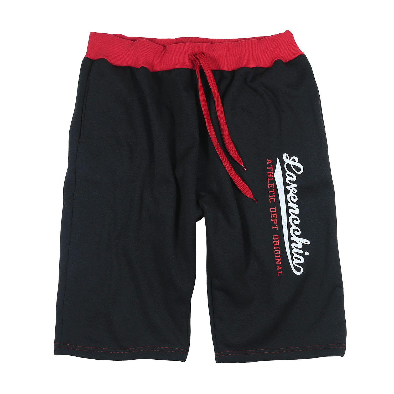 Detail Image to Jogging bermuda in big sizes 3XL - 8XL, red/black