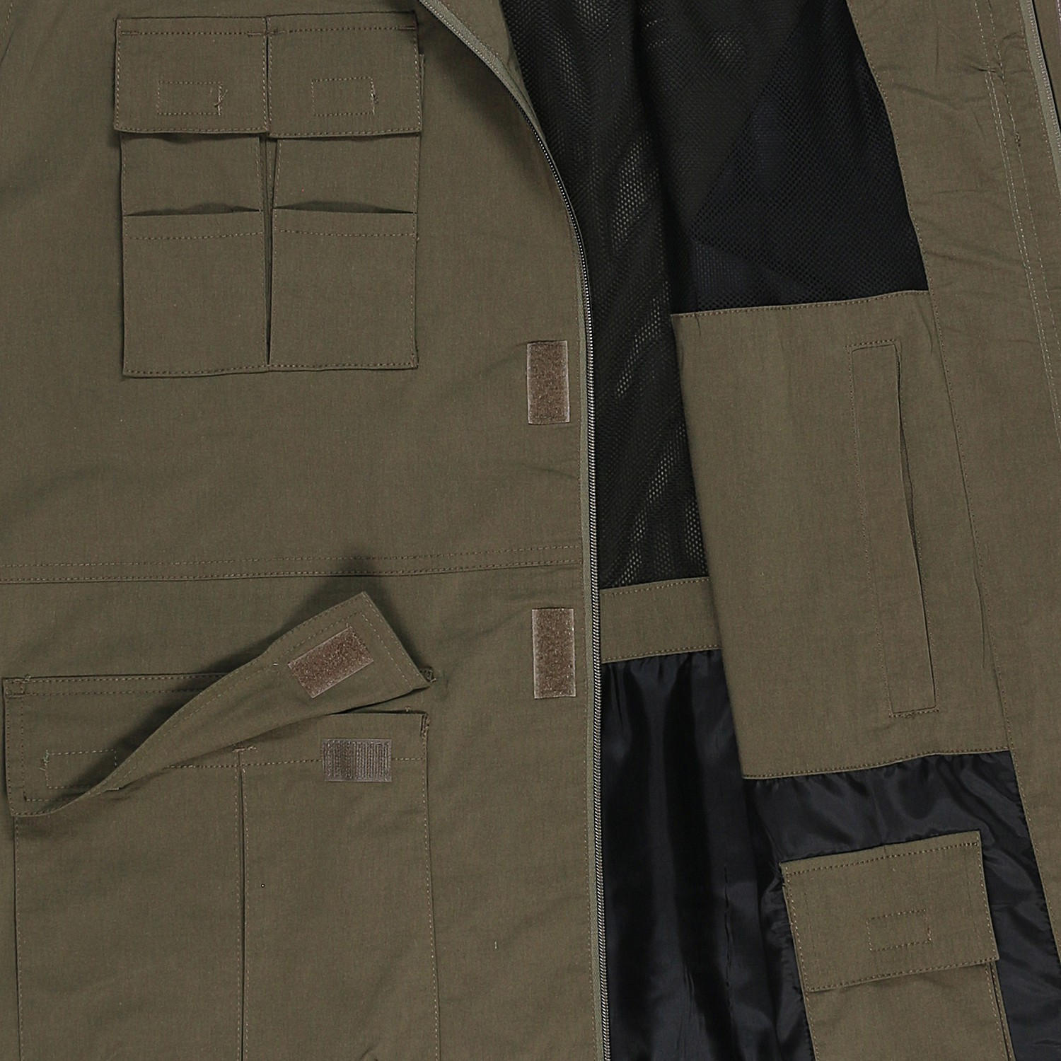 Detail Image to Outdoor vest in khaki by Abraxas in oversizes up to 10XL