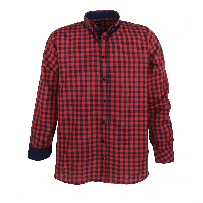 Image de détail de Chemise à carreaux noir/rouge grande taille de Lavecchia