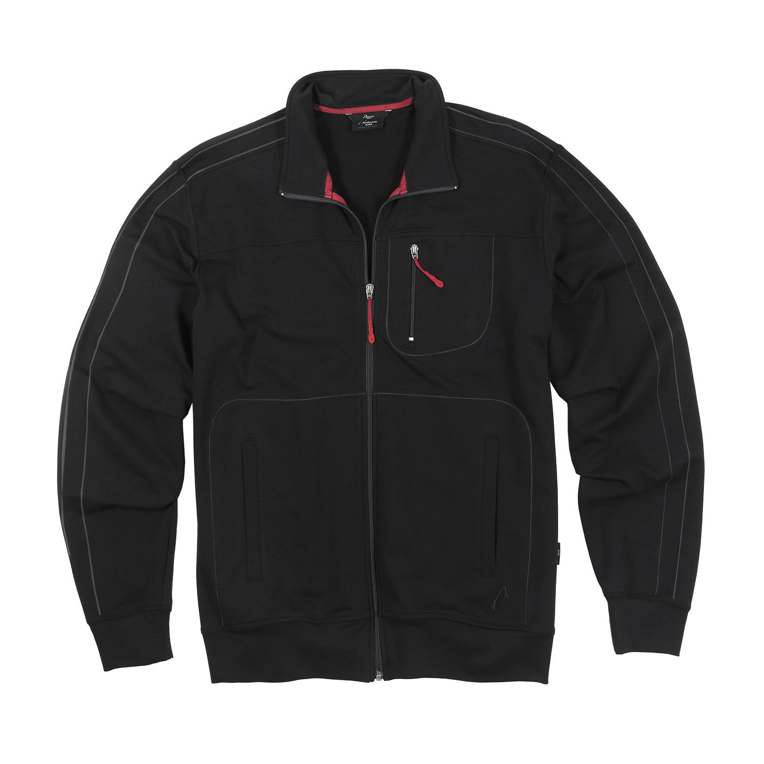 Detail Image to long size sports and leisure jacket in black, plus sizes by AUTHENTIC KLEIN