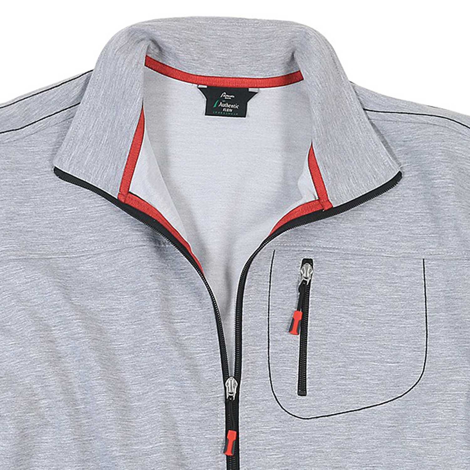Detail Image to long size sports and leisure jacket in grey, plus sizes by AUTHENTIC KLEIN