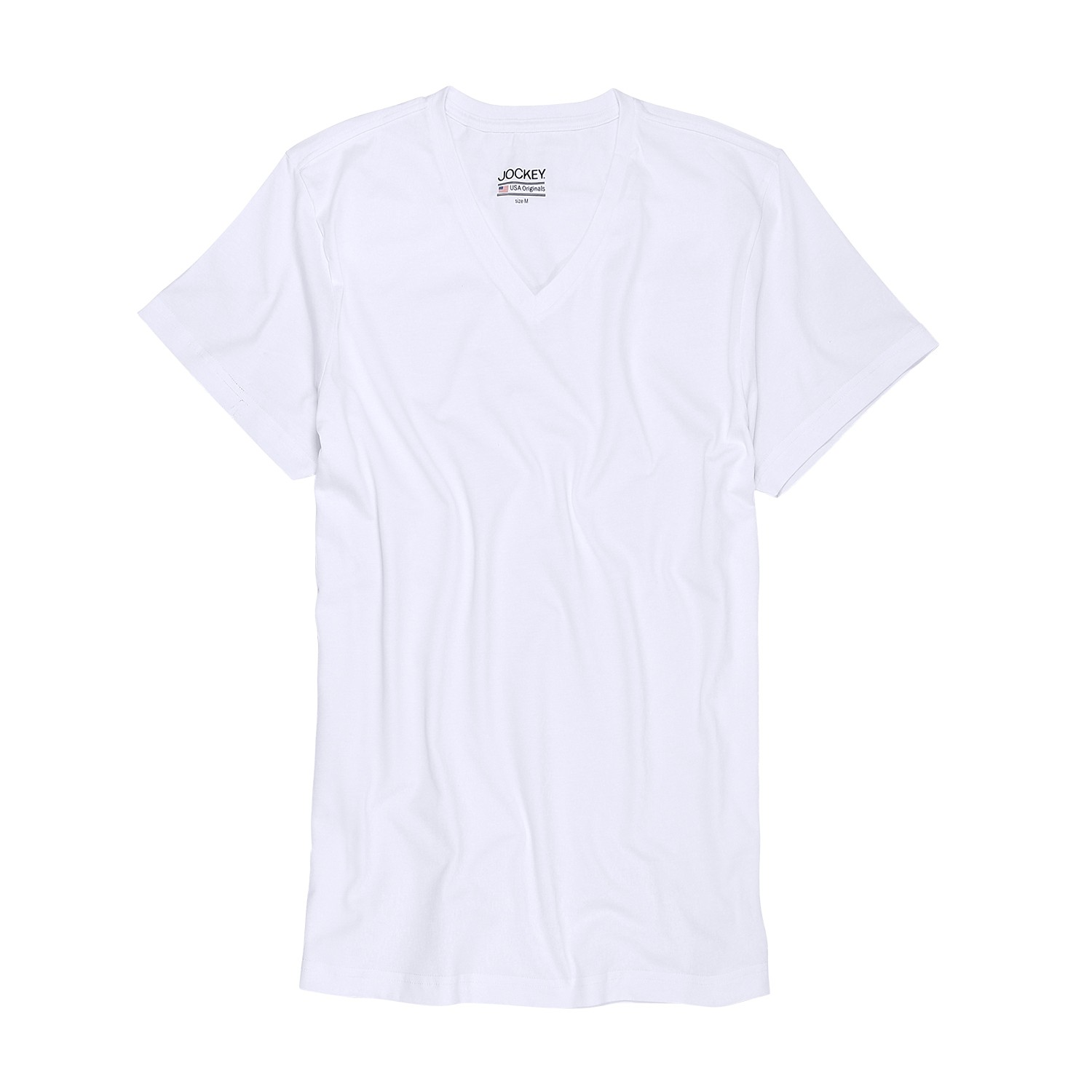 Detail Image to White T-shirt with v-neck from Jockey in oversize until 6XL