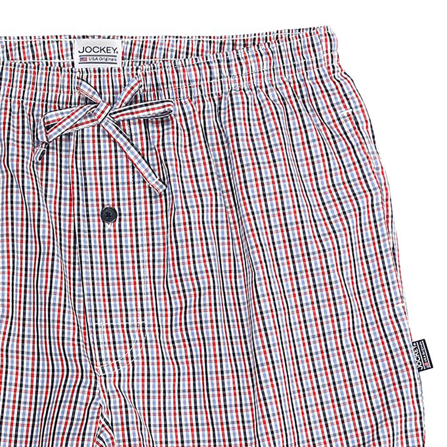 Detail Image to Pyjama bermudas for men from JOCKEY red checked in large sizes up to 6XL