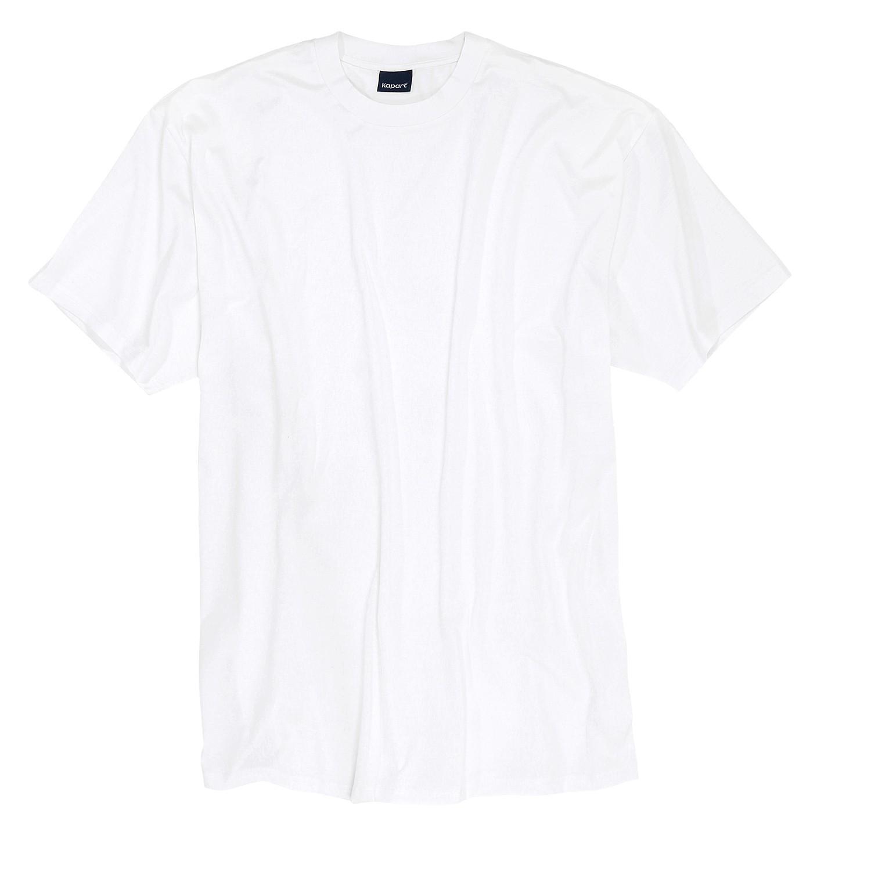 Detailbild zu Weißes T-Shirt aus mercerisierte Baumwolle in Übergrößen bis 7XL // KAPART
