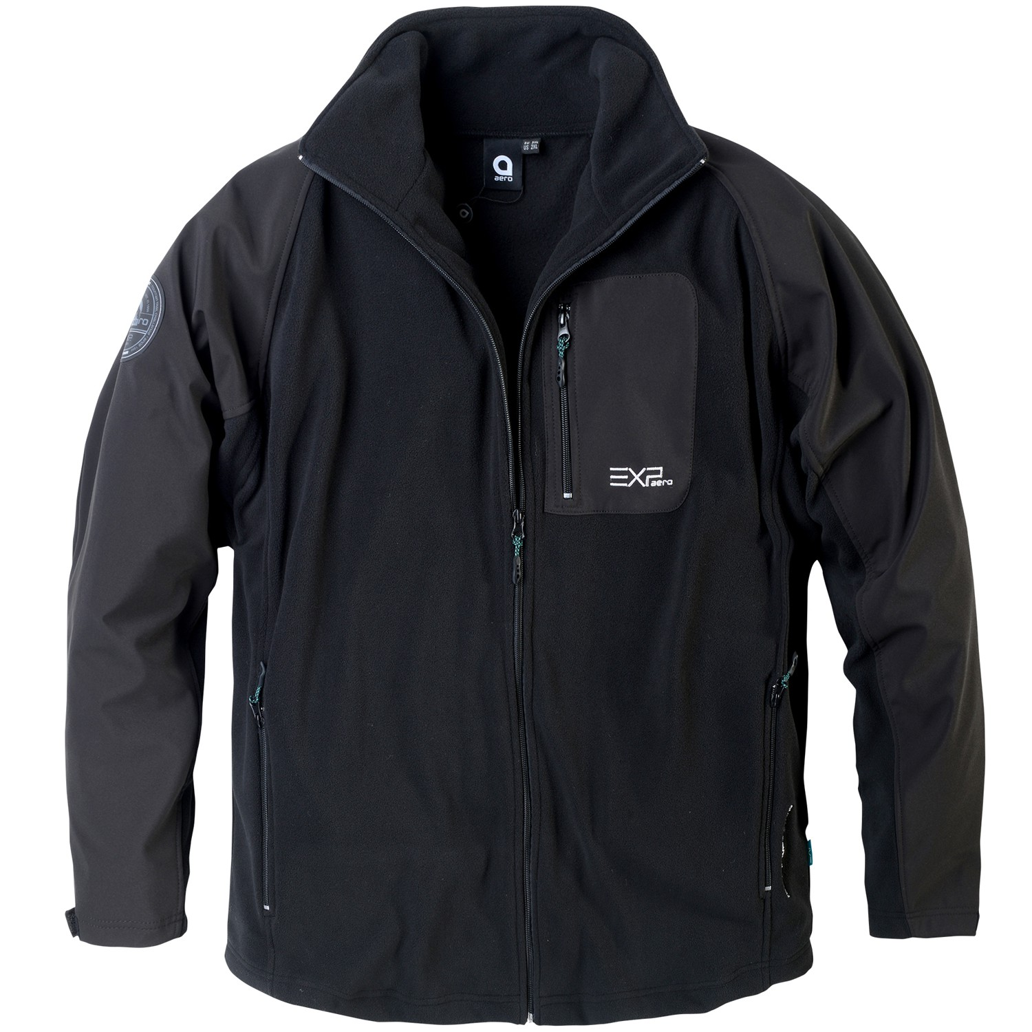 Detail Image to Sport fleece jacket in big sizes black by North 56°4 up to 8XL
