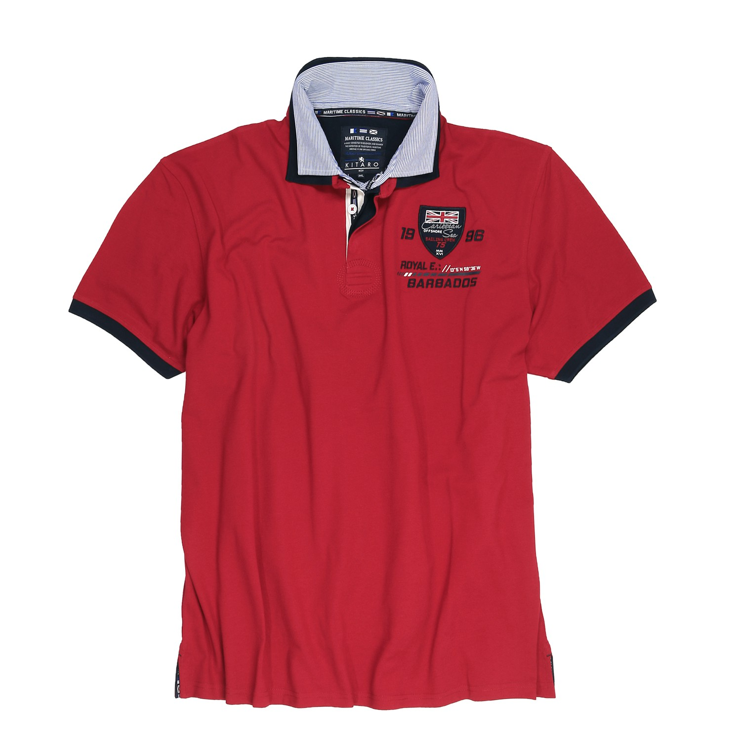 Detail Image to Red polo shirt by Kitaro in extra large sizes up to 8XL