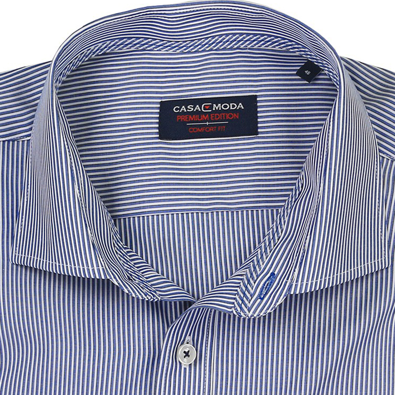 Detail Image to Blue shirt striped by Casamoda in plus size up to 7XL