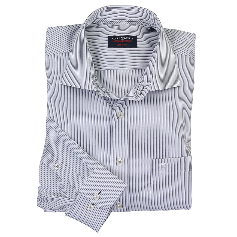 Detailbild zu Dunkelgrau gestreiftes Hemd (Langarm) von Casamoda in Übergrößen bis 7XL