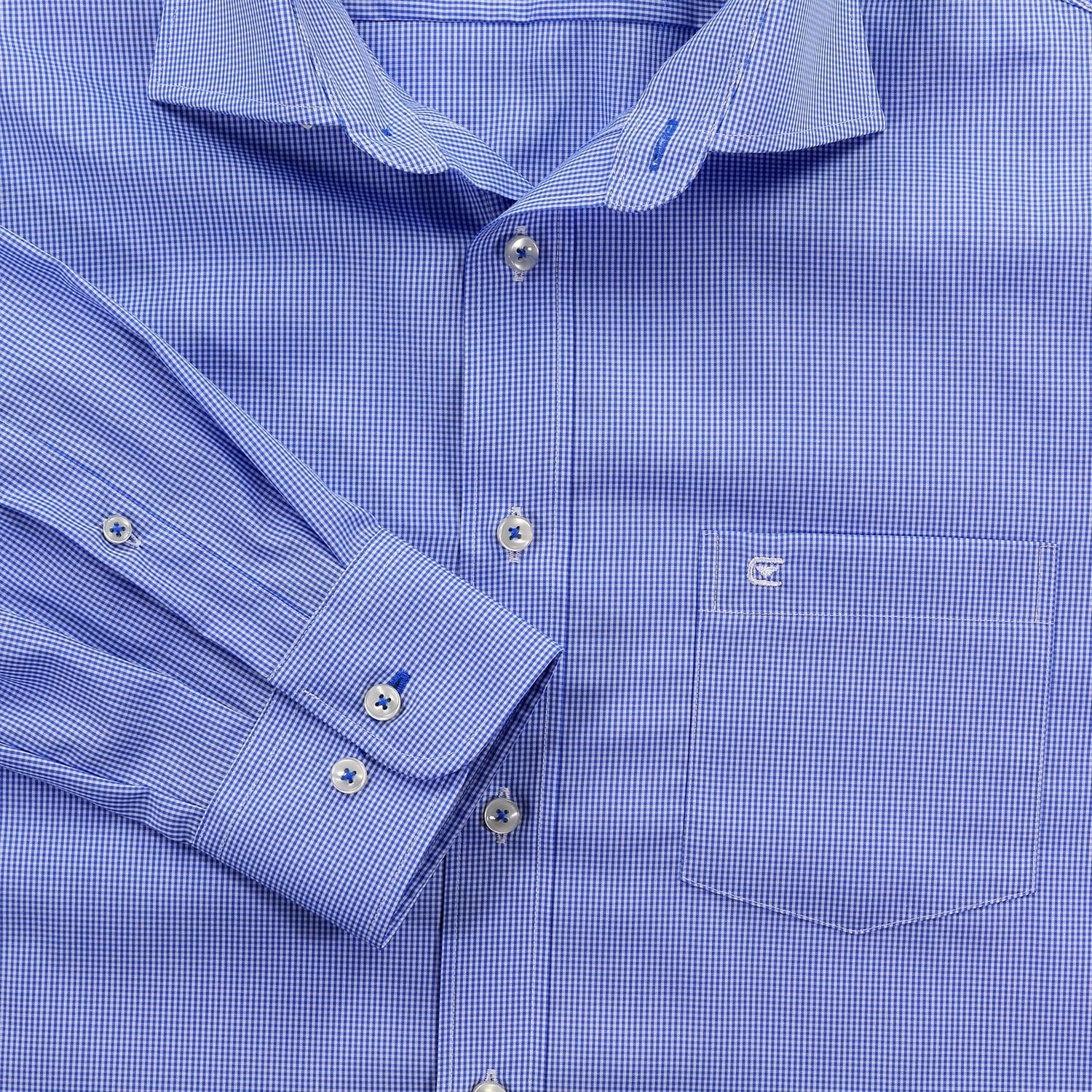 Detail Image to Shirty by Casamoda, blue checkered up to size 7XL