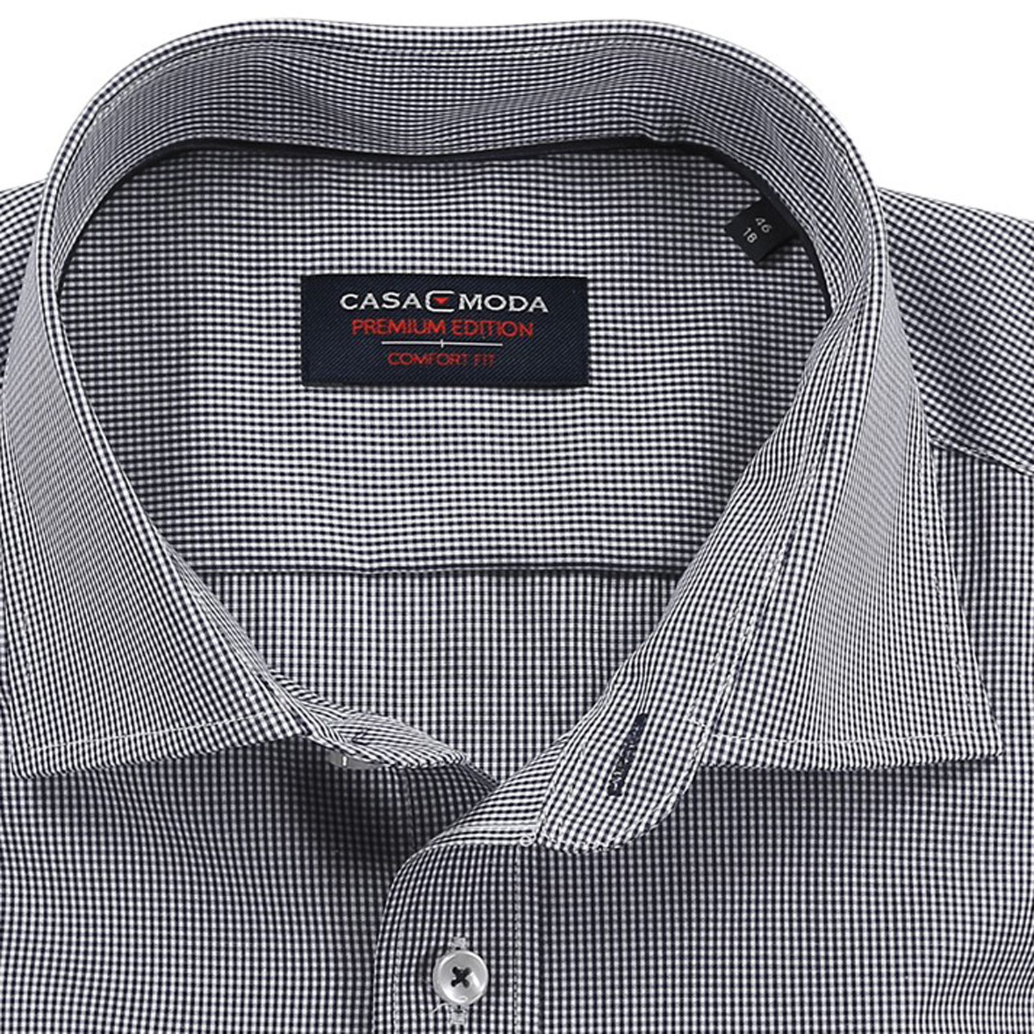 Detail Image to Shirt by Casamoda (longsleeve) black checkered in king sizes up to 7XL