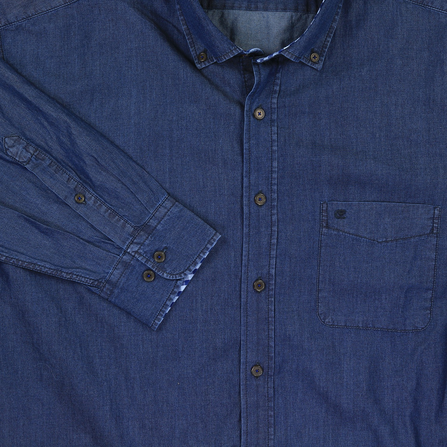 Detail Image to Shirt by Casamoda, blue coloured (jeans look) in king sizes available