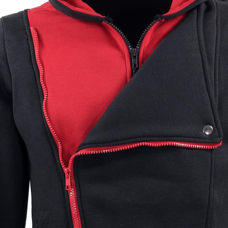 Detailbild zu Sweatjacke von Lavecchia in Übergrößen, schwarz-rot mit Kapuze