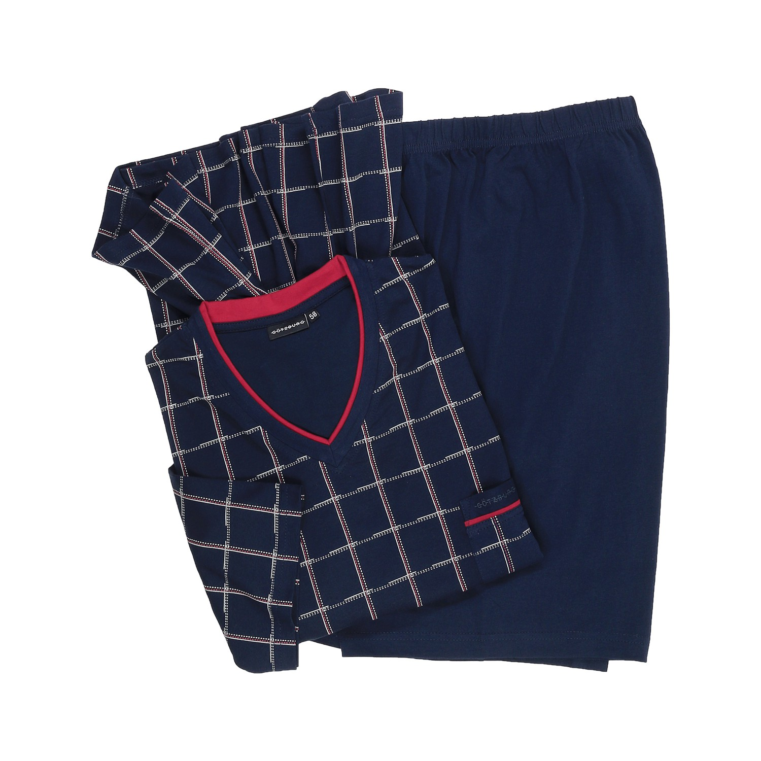 Detail Image to Short pyjama in navy by Götzburg up to oversize 5XL