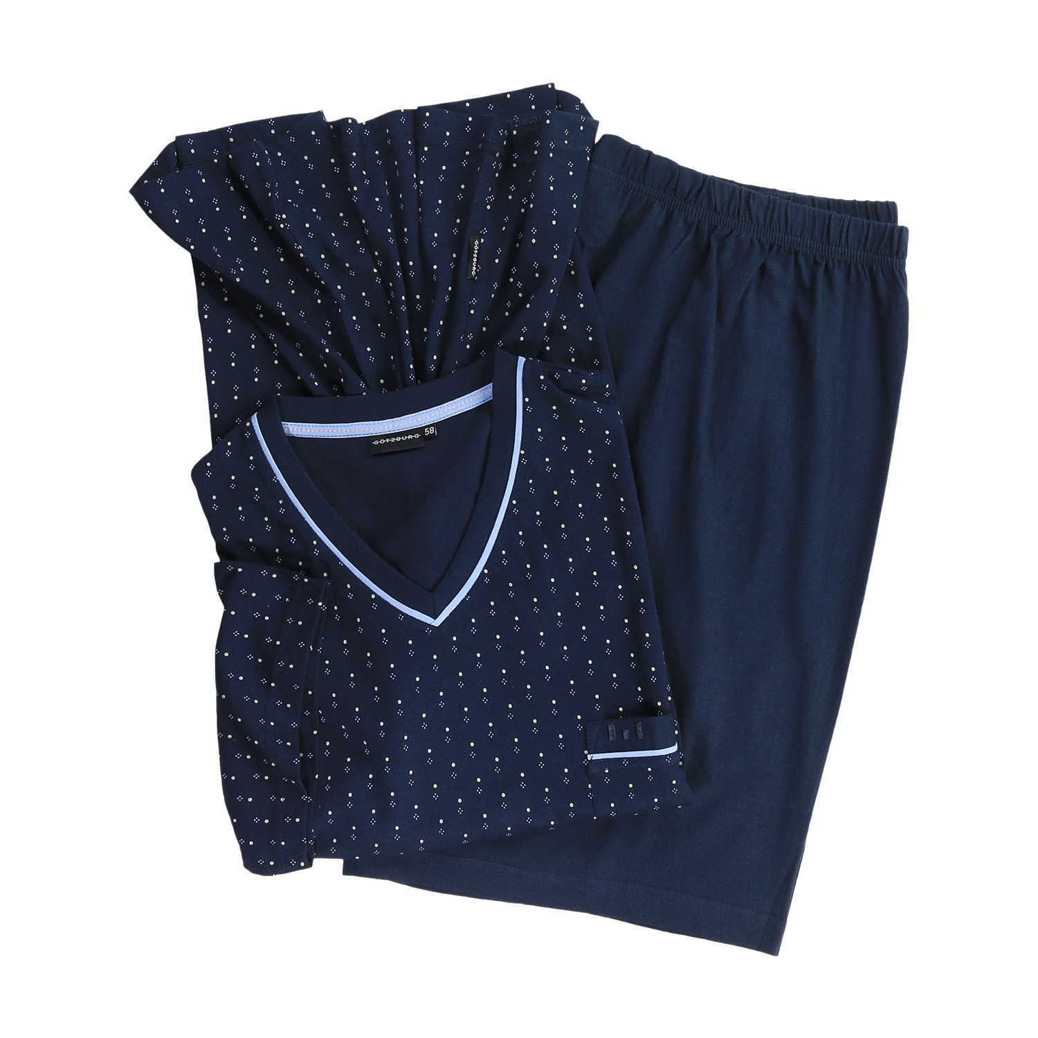 Detail Image to Short pyjamas with points in navy by Götzburg up to oversize 9XL