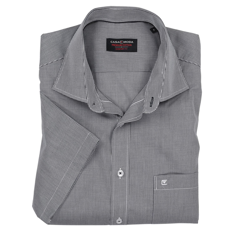 Detailbild zu Hemd von Casamoda, schwarz kariert, kurzarm in Übergrößen bis 7XL