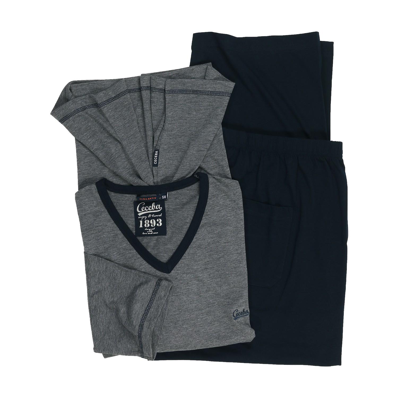 Detailbild zu Schlafanzug grau meliert mit V-Ausschnitt von CECEBA in Übergrößen bis 7XL