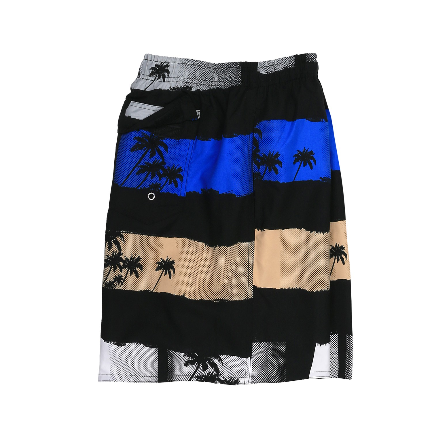 Detail Image to Swimming Trunks by Adamo, black/beige/blue, in plus size up to 5XL