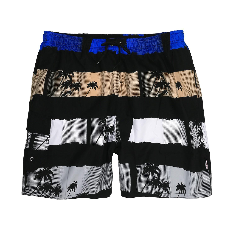 Detailbild zu Adamo Badebermuda mit Palmenprint in schwarz/blau/beige bis Größe 7XL