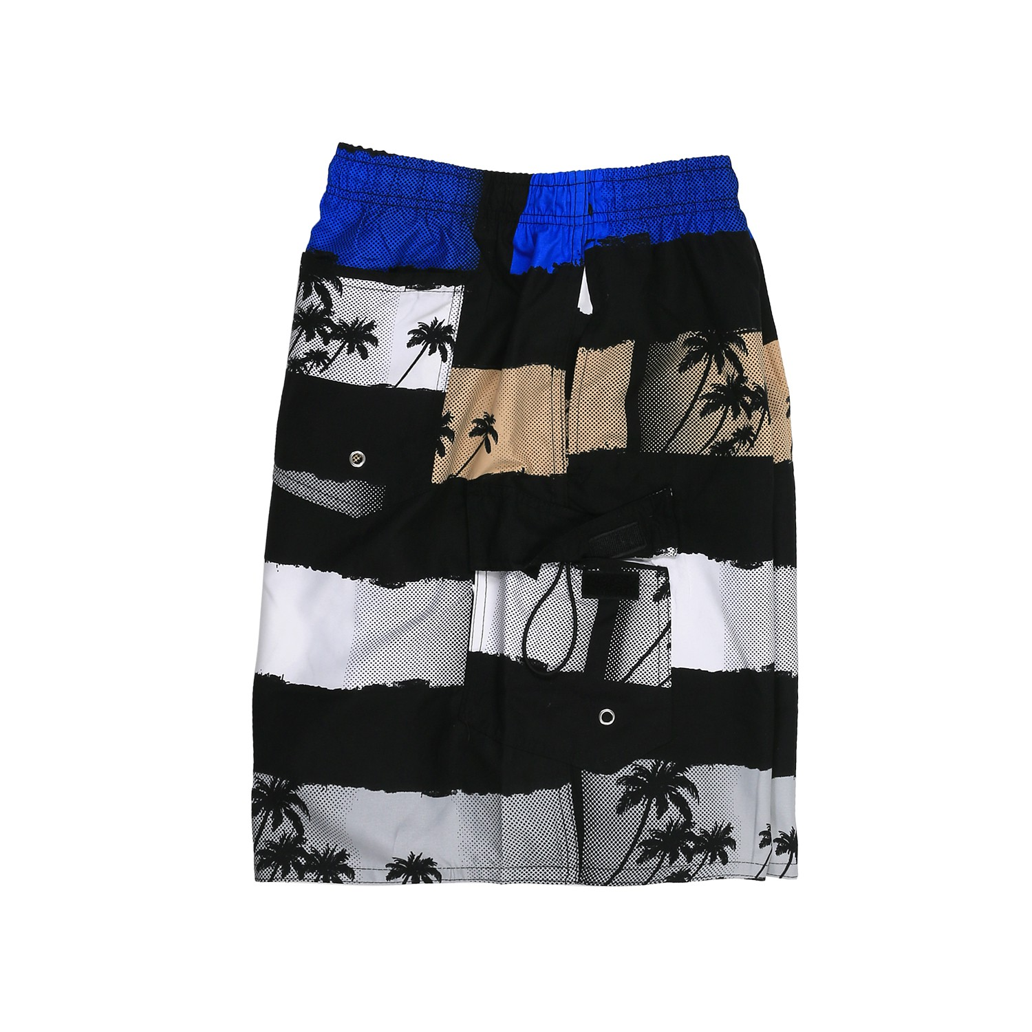 Detail Image to Swimming Trunks by Adamo, black/beige/blue, in plus size up to 8XL