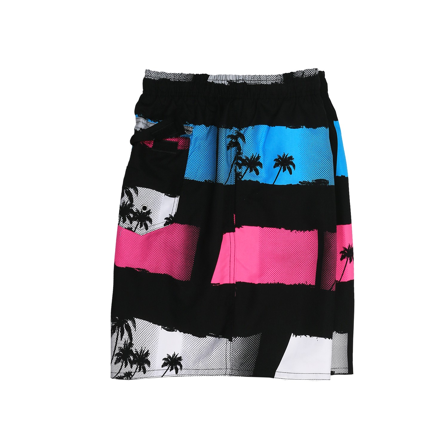 Detail Image to Swimming Trunks by Adamo, black/turquoise/pink in plus size up to 7XL